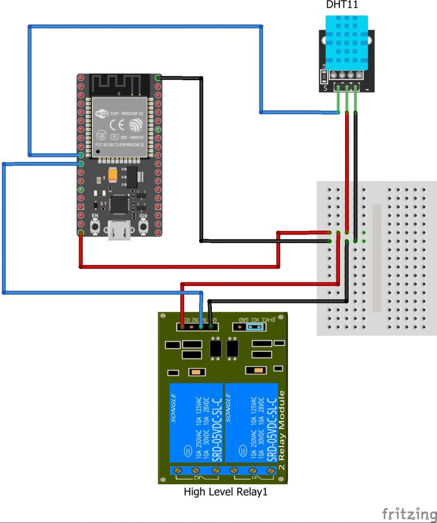 Fritzing diagram of the setup of an ESP32 with a relay and a DHT temperature sensor