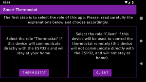 "Screen to select the role of this app. In this case, we are configuring the thermostat, because of that you have to select the ""Thermostat"" option"